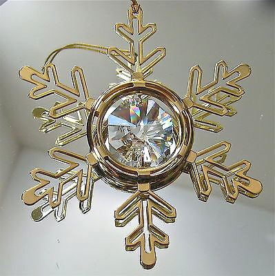 Swarovski Crystal Prism, Snowflake Ornament with Octagon Prism, 24K Gold Plate