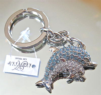 Mother and Baby Dolphin Key Ring with Swarovski Rhinestones