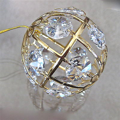 Swarovski Crystal Prisms Ball Ornament made with 12  Prisms, 24K Gold Plated NIB