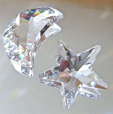 Swarovski Crystal 30mm Moon, 28mm Star Prism Ornaments