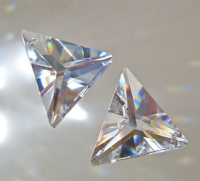 Swarovski Crystal Set of 2 Triangle Prisms Suncatcher Ornaments, 30mm Logo