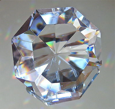 Leaded Crystal Large Octagon with Pointed Back Prism Suncatcher Ornament , 70mm