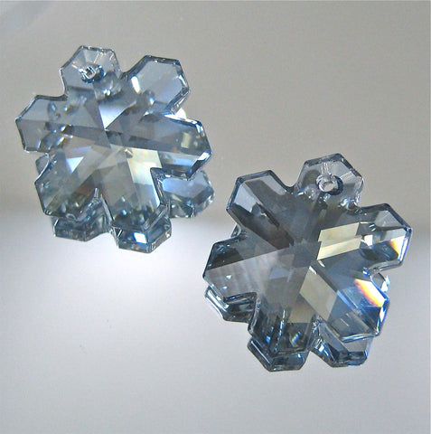 Swarovskil Ice Blue Snowflakes, Two 25mm Suncatcher ornament Prisms, New Color