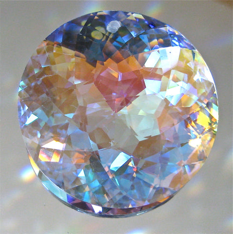 Bohemian Crystal AB  Prism Ornament Suncatcher, Round Star cut, 45mm