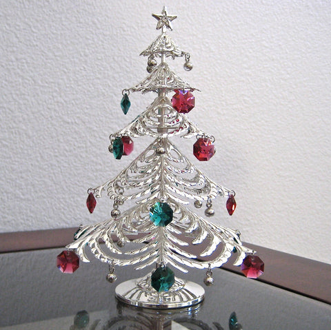 Christmas Tree Figurine with 17 Swarovski Crystal Octagon Prisms Silver Plated