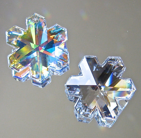 Swarovski Crystal Set of One AB and One Clear Snowflake Prism Ornaments, 25mm