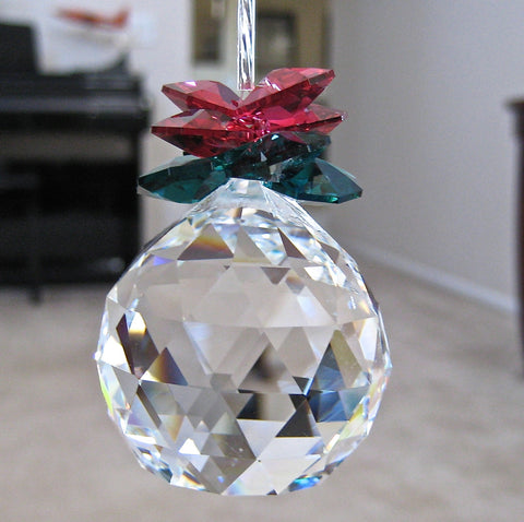 German & Swarovski Crystal Holly Ball Ornament,  Leaded 40mm Ball