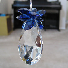 German & Swarovski Crystal Teardropl Ornament,  Leaded, 50mm