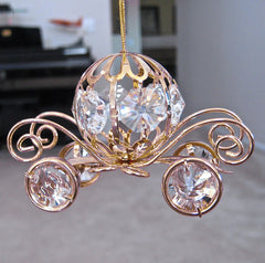 Cinderella Coach Ornament, 10 Swarovski Octagon Prisms, 24K Gold Plated
