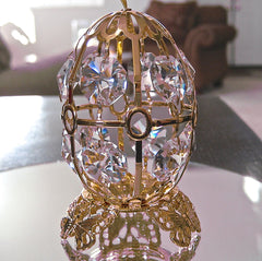 Swarovski Prism Easter Egg Ornament and Stand 12 Clear Octagon Prisms, 24K Gold