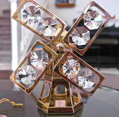 Swarovski Prism Windmill Ornament Figurine with 8 Clear Octagon Prisms, 24K Gold