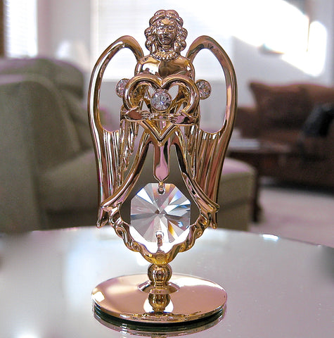 Swarovski Element Angel Figurine Ornament, Swarovski Prisms, Rhinestones 24K GP