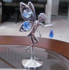 Swarovski Element Fairy Figurine with sapphire blue Octagon and Drop Prisms Silver Plated
