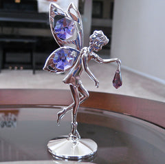 Blue Violet Swarovski Element Fairy Figurine with Octagon and Drop Prisms Silver Plated