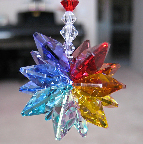 Chakrah Feng Shui Prism Suncatcher made with Swarovski Prisms and Beads