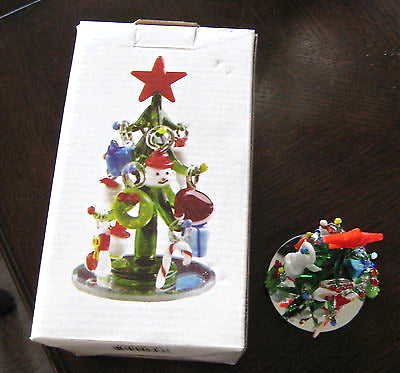 Crystal Christmas Tree  and 12 Handblown Ornaments, New