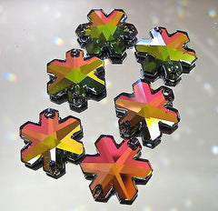 Lot of 6 Swarovski Crystal 2 Hole Vitrail Medium Snowflake Prism ornaments rare
