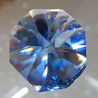Swarovski Crystal Sapphire Blue Octagon Prism Ornament Suncatcher, 28mm