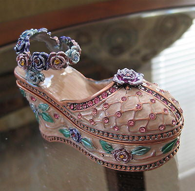 Pink Floral Shoe Enamelled Trinket Jewelry Box made with Swarovski Rhinestones