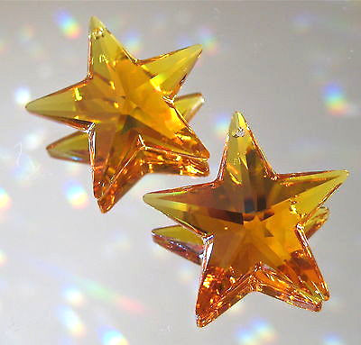 Swarovski Crystal 2 Dark Topaz Star Prism Ornaments Suncatchers, 28mm Retired