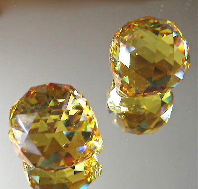 Swarovski Crystal (2) Topaz Sphere ball Prism Ornaments, 20mm, Logo, Retired