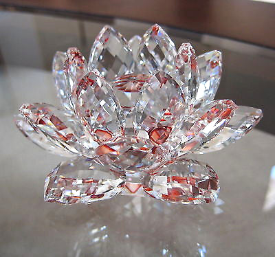 Cut Crystal Lotus flower Figurine or Paperweight,  Clear and Red