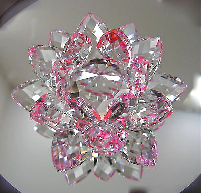 Cut Crystal Lotus flower Figurine Paperweight,  Clear and Pink