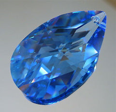 Swarovski Crystal, 38mm Medium Sapphire Teardrop Prism Ornament Suncatcher, logo