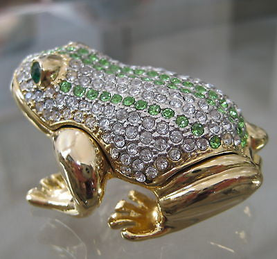 Frog Trinket Box with Swarovski Rhinestones by Alexander Kalifano, 24k GP