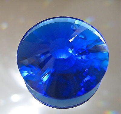 Bohemian Crystal Cobalt Blue Sun Disc Prism Suncatcher Ornament, 28mm