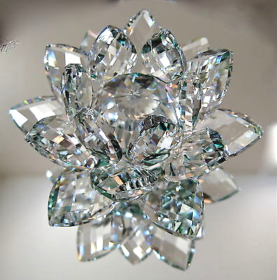 Cut Crystal Lotus flower Figurine Paperweight,  Clear and Green