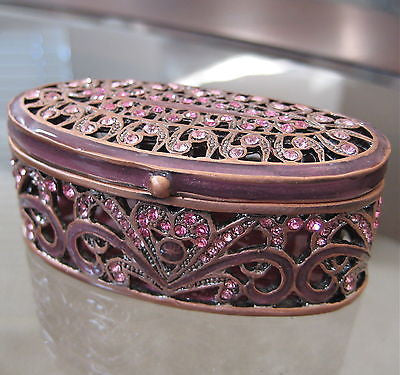Pink Filigree Trinket Jewelry Box made with Swarovski Crystal