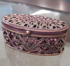 Pink Filigree Trinket Jewelry Box made with Swarovski Crystal Rhinestones