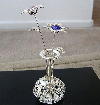 Silver Plated Vase and Flowers with Swarovski Crystal Prism Ornaments