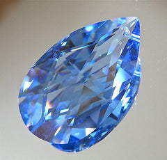 Swarovski Crystal Large Sapphire Teardrop Prism Ornament 50mm, Retired Logo