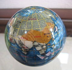"Alexander Kalifano Genuine Gemstone Globe Paperweight Ornament, 3""  NIB"