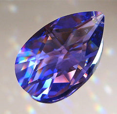 Swarovski Crystal 38mm Tanzanite Teardrop Prism Ornament Logo