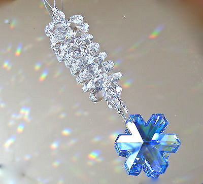 Swarovski Sapphire AB Snowflake Prism Ornament, 35mm Logo with 14 Octagon Prisms