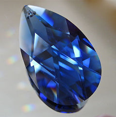Swarovski Dark Sapphire Cobalt Blue Teardrop Prism Ornament, 38mm, logo, retired