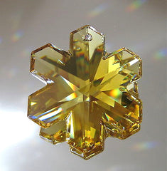 Swarovski Crystal  Amber Snowflake Ornament Prism , 30mm, Logo , Retired Rare!