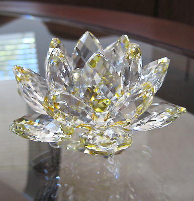 Cut Crystal Lotus flower Figurine or Paperweight, Clear and Topaz