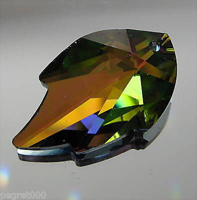 Swarovski Crystal Vitrail Medium Leaf Prism Pendant Ornament, 32mm, Logo Retired