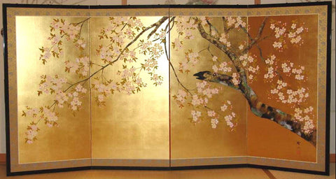 Tominaga Jyuho - Japanese Traditional Hand Paint Byobu (Gold Leaf Folding Screen) - X135 - Free Shipping