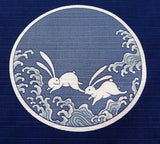 Maruwa - Rabbit picture-painted plate (Navy) - Furoshiki (Japanese Wrapping Cloth) 50 x 50 cm