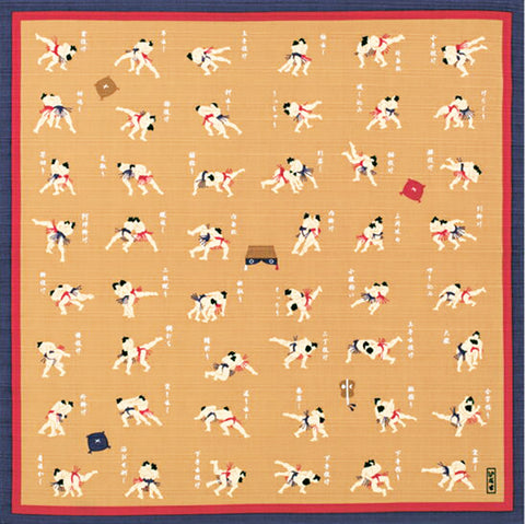 Inase - Sumo Shijyuhatte ( the forty‐eight tricks of sumo wrestling) - Furoshiki 50 x 50 cm