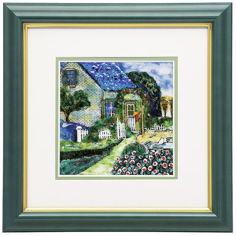 Saikosha - #015-09 Blue roof house (Framed Cloisonné ware) - Free Shipping