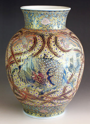 Fujii Kinsai Arita Japan - Yurisai Kinran Kylin & Phoenix Ornamental vase 24.10 cm (Superlative Collection) - Free Shipping
