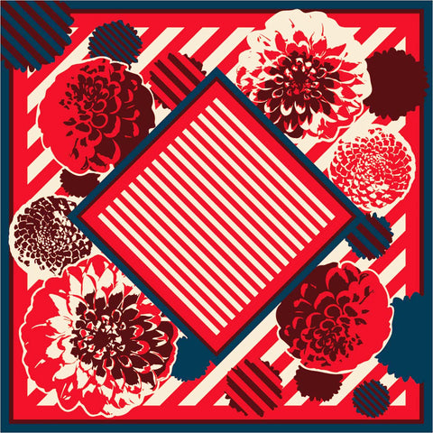 Dear Lady - Dahlia Furoshiki   97X97cm   (Japanese Wrapping Cloth)