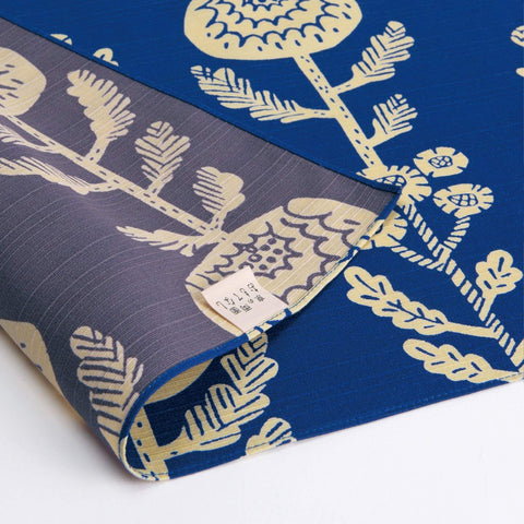 Omotenashi -  Double-Sided Dyeing Kiku (Chrysanthemum) Navy - Furoshiki (Japanese Wrapping Cloth)