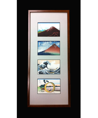 Katsushika Hokusai - Unsodo edition 4 scene of Thirty-six Views of Mount Fuji in Frame - Miniature scale - Free Shipping